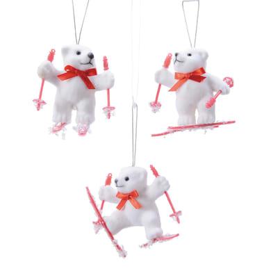 Orso con sci in plastica bianco