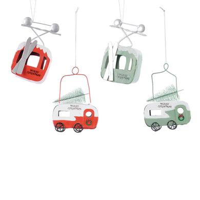 Camion e funivia assortite bianco e rosso , L 8 cm