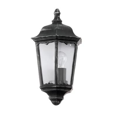 Applique Navedo in alluminio + vetro, nero argento, E27 MAX100W IP44 EGLO
