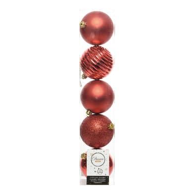 Sfera natalizia in plastica Ø 8 cm confezione da 5 pezzi