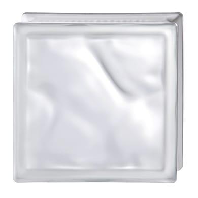 Vetromattone BORMIOLI Satinato bianco ondulato H 19 x L 19 x Sp 8 cm