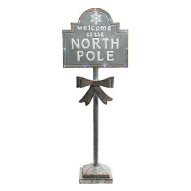 Segnaletica Polo Nord in metallo H 121 cm, L 45.5 cm  x P 23.5 cm