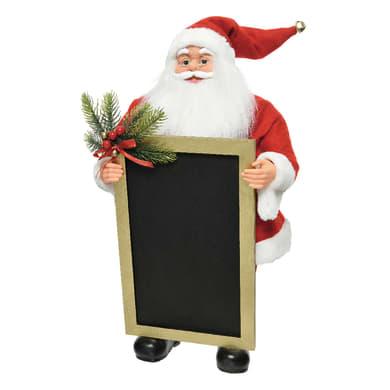 Babbo Natale con lavagna in tessuto H 63 cm, L 30 cm  x P 25 cm