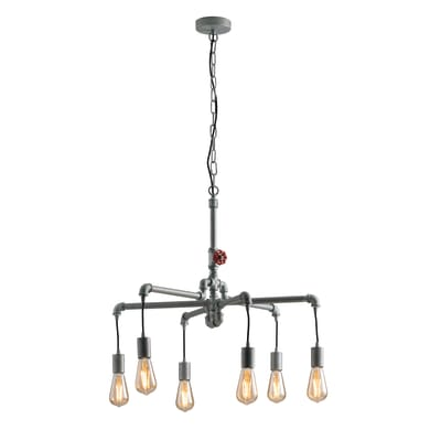 Lampadario Industriale Amarcord zinco in metallo, D. 72 cm, 6 luci, FAN EUROPE