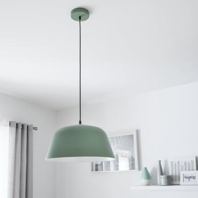 Lampadario Scandinavo Bells grigio verde in metallo, D. 40 cm, L. 124.0 cm, INSPIRE