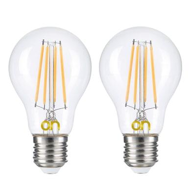 Lampadina LED E27, Bulbo, Trasparente, Bianco, Luce calda, 8W=806LM (equiv 8 W), 360° , set di 2 pezzi