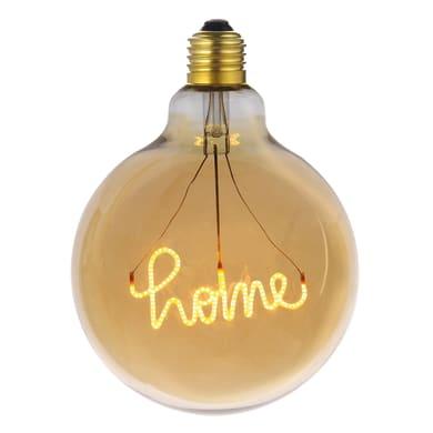 Lampadina decorativa LED, Script Home, E27, Globo, Ambra, Luce calda, 4W=200LM (equiv 4 W), 270°