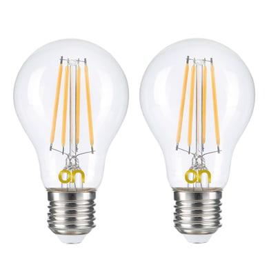 Lampadina LED E27, Bulbo, Trasparente, Bianco, Luce naturale, 8W=806LM (equiv 8 W), 360° , set di 2 pezzi