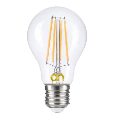 Lampadina LED E27, Bulbo, Trasparente, Bianco, Luce calda, 8W=806LM (equiv 8 W), 360°