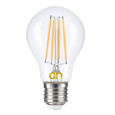 Lampadina smart lighting LED, E27, Bulbo, Trasparente, Luce calda, 8W=806LM (equiv 8 W), 360°