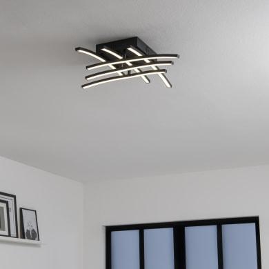 Plafoniera Beryl nero, in alluminio, 50x50 cm, diam. 50 , 6 luci , IP20 INSPIRE