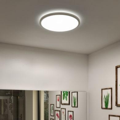 Plafoniera Lano bianco, in plastica, 29.4x29.4 cm, diam. 29.4, LED integrato 18W 1700LM IP54 INSPIRE
