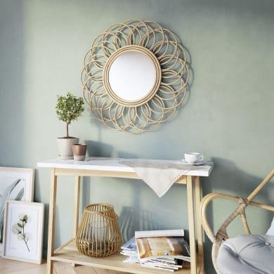 Specchio a parete tondo Flower naturale 55 cm INSPIRE