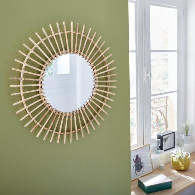 Specchio a parete tondo Bamboo naturale 55 cm INSPIRE