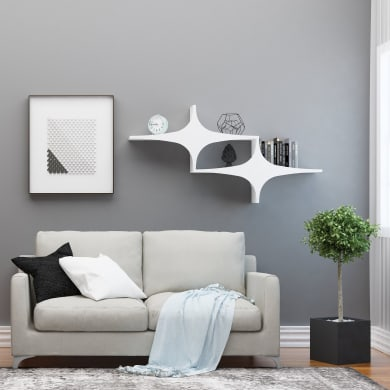 Mensola Chausey L 135 x P 20 cm, Sp 20 cm bianco