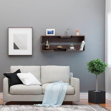 Mensola Bled L 108 x P 18 cm, Sp 20 cm bianco e wengé