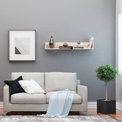 Mensola Bled L 108 x P 18 cm, Sp 20 cm nero e rovere