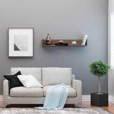 Mensola Bled L 108 x P 18 cm, Sp 20 cm nero e wengé