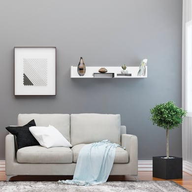Mensola Bled L 108 x P 18 cm, Sp 20 cm bianco e nero