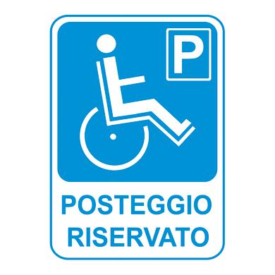 Cartello segnaletico Posteggio riservato pvc 25 x 35 cm