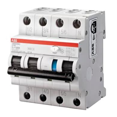 Interruttore magnetotermico differenziale ABB DS203NC C10 AC30 3 poli 10A 6kA 30mA AC 4 moduli 400V