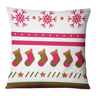 Fodera per cuscino Calze Natale bianco 45x45 cm