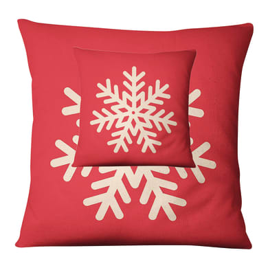 Fodera per cuscino Fiocco Neve rosso 45x45 cm