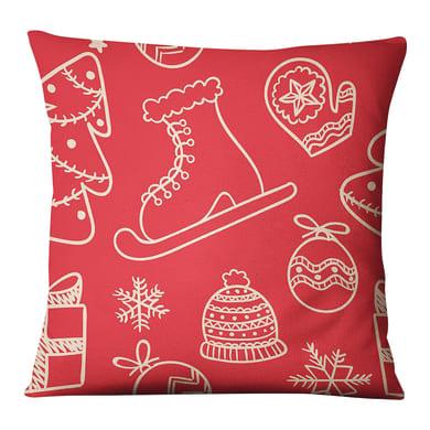Fodera per cuscino Disegni Natale rosso 45x45 cm