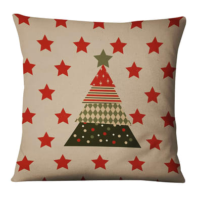 Fodera per cuscino Albero Natale Stelle beige, rosso, verde 45x45 cm