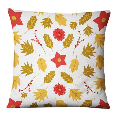 Fodera per cuscino Foglie bianco, giallo, rosso 45x45 cm