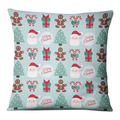 Fodera per cuscino Babbo Natale azzurro 45x45 cm
