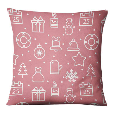 Fodera per cuscino Disegni Natale rosa, bianco 45x45 cm