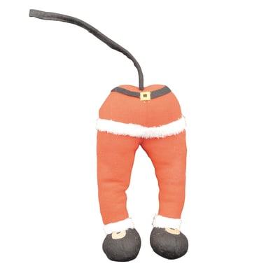 Decoro albero gambe elfo/Babbo Natale in tessuto rosso, bianco e nero , L 15 cm x P 9 cm