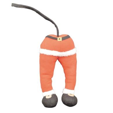 Decorazione albero gambe Babbo Natale in tessuto rosso, bianco e nero H 30 cm, L 13 cmx P 8 cm,