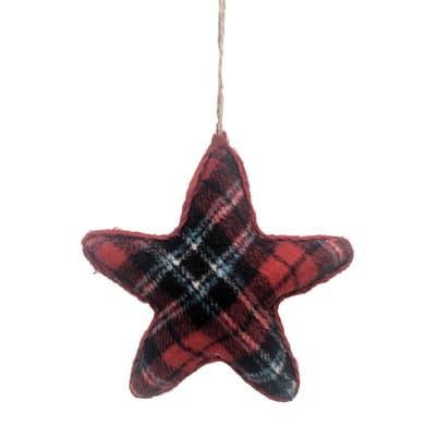 Stella in tessuto scozzese rosso H 13 cm, L 13 cmx P 4 cm,