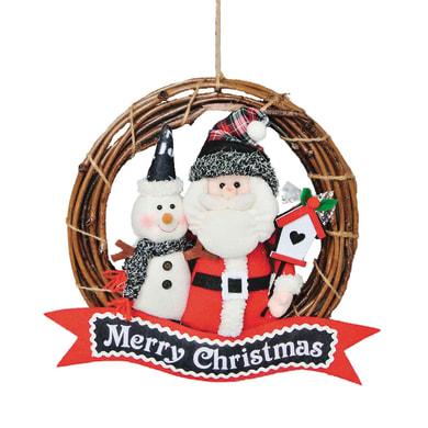 Fuoriporta quadrato Merry Christmas in legno H 45 cm, L 35 cm  x P 2 cm