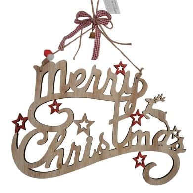Fuoriporta Merry Christmas in legno H 20 cm, L 30 cm  x P 1 cm