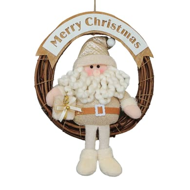 Fuoriporta Christmas  Babbo Natale in tessuto H 45 cm, L 38 cm  x P 2 cm
