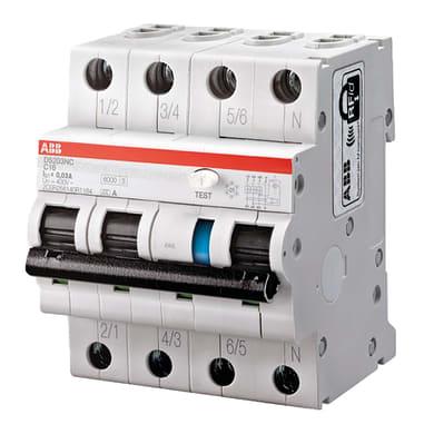 Interruttore magnetotermico differenziale ABB DS203NC C25 AC30 3 poli 25A 6kA 30mA AC 4 moduli 400V