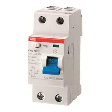 Interruttore differenziale puro ABB F202 AC-16 / 0,01 2 poli 16A 10mA AC 2 moduli 230V