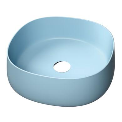 Lavabo da appoggio  in ceramica bianco e blu