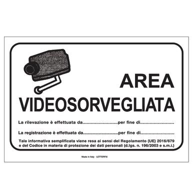 Cartello segnaletico Aria videosorvegliata pvc 16 x 21 cm