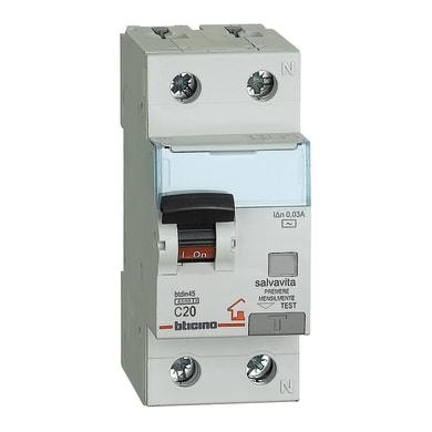 Interruttore magnetotermico differenziale BTICINO GC8813AC20 1 polo 20A 4.5kA 30mA AC 2 moduli 220V