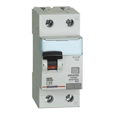 Interruttore magnetotermico differenziale BTICINO GN8814AC25 1 polo 25A 6kA 300mA AC 2 moduli 220V