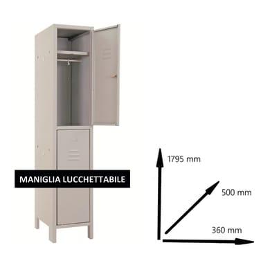 Armadio Spogliatoio Monoblocco L 36 x P 50 x H 179.5 cm grigio