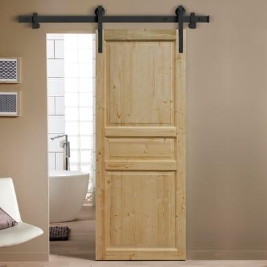Porta scorrevole con binario esterno Beethoven in legno grezzo Kit Factory L 96 x H 215 cm