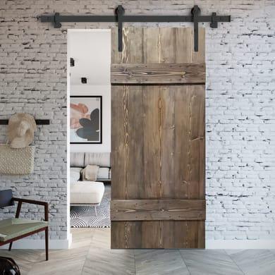 Porta scorrevole con binario esterno Barn Ebano in legno verniciato Kit Factory L 86 x H 215 cm