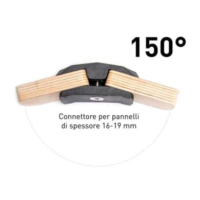 Sistema di assemblaggio playwood 150° in pvc L 152 x  4 pezzi , nero