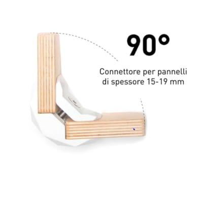 Sistema di assemblaggio playwood 90° in pvc L 152 x  4 pezzi , bianco