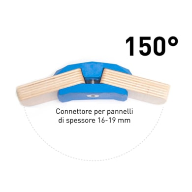 Sistema di assemblaggio playwood 150° pvc  4 pezzi , blu